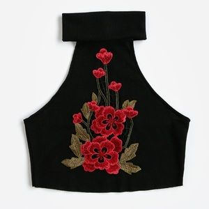 Tops - Embroidered Crop Top